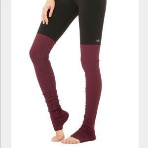 Alo Yoga Goddess Leggings Black/Burgundy